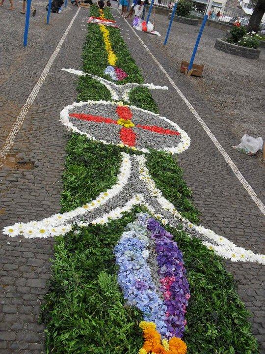 alfombras flores madeira