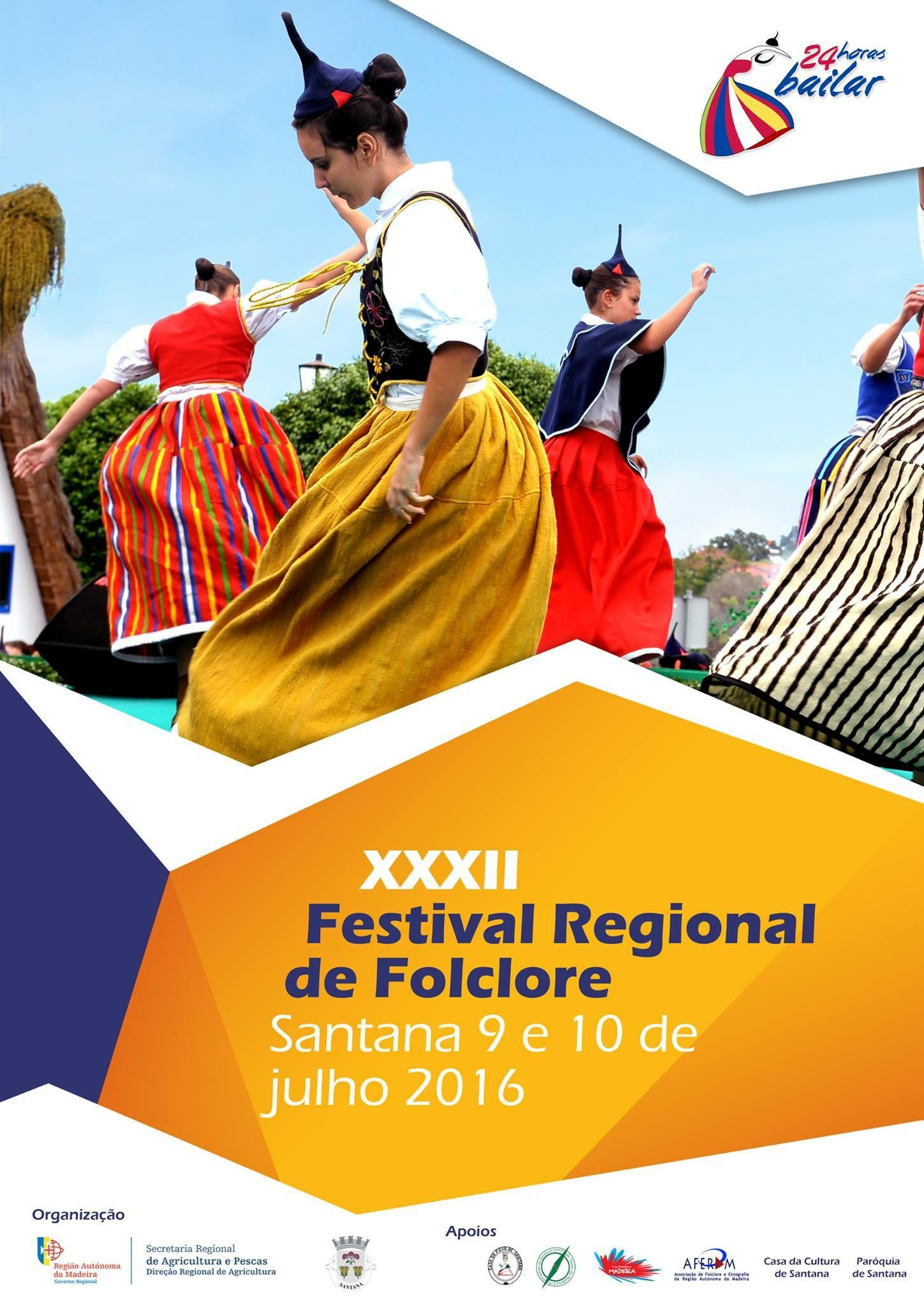 Cartel anunciando el Festival Regional de Folklore en Santana en 2016